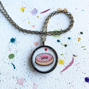 Donut Pendant Necklace, Original Watercolor Hand Painted Necklace, Donut Love