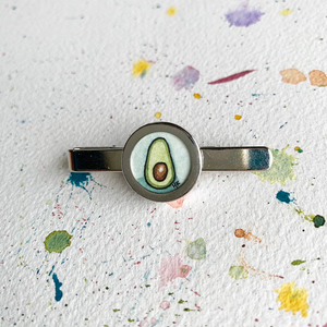 Avocado Love Tie Clip, Original Hand Painted Tie Clip, unique gifts for men