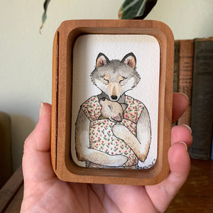 "SALE Wolf Mama Wearing Pup, ""Animal Families"" Original Watercolor Box Painting, Shadow Box Home Decor"