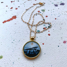 Load image into Gallery viewer, Nativity Scene - Christmas Hand Painted Necklace, Original Art Pendant