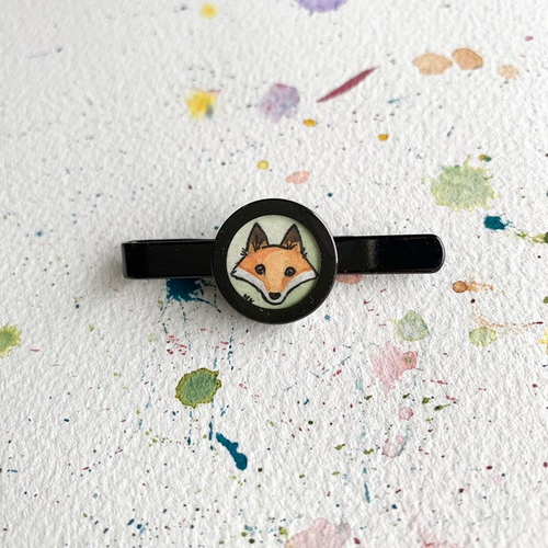 Fox Tie Clip, Original Hand Painted Tie Clip, unique gifts for men
