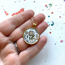 Load image into Gallery viewer, Hand Painted Necklace Inspired by Vintage Floral Wildflower Garden, Original Watercolor Painting