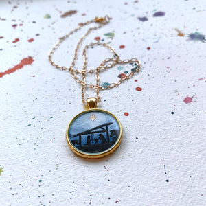 Nativity Scene - Christmas Hand Painted Necklace, Original Art Pendant