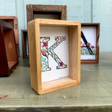 Load image into Gallery viewer, SALE K - Floral Monogram Letter K with Pink Blossoms, Original Watercolor Box Painting