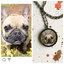 Load image into Gallery viewer, A Custom Pet Portrait Hand Painted Necklace, Original Watercolor Pet Portrait Painting by Heather Kent