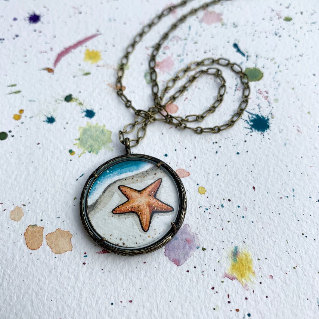 Starfish Original Watercolor Hand Painted Necklace Pendant