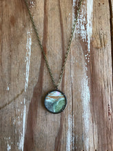 Load image into Gallery viewer, 5. Abstract Painting, Watercolor Hand Painted Necklace, Original Abstract Art Pendant, One of a Kind, Green Gray Gold