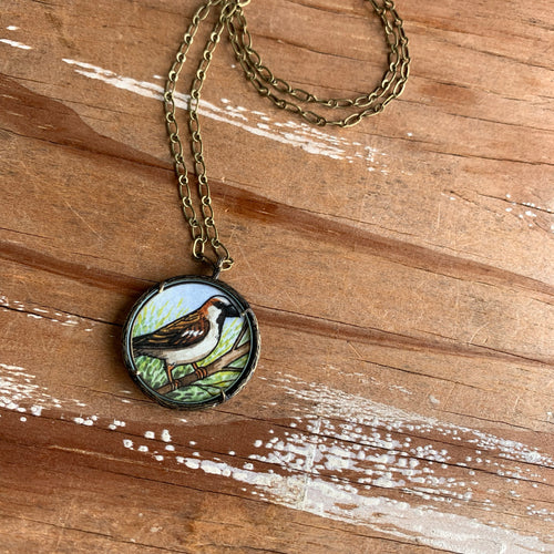 Sparrow Necklace, Watercolor Hand Painted Necklace, Original Art Pendant