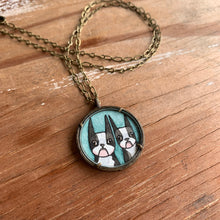 Load image into Gallery viewer, Boston Terrier Buddies, Hand Painted Pendant, Original Watercolor Art Illustration