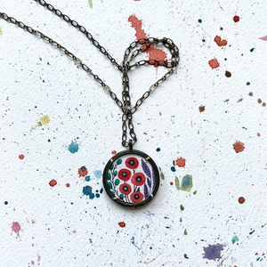 Poppy Pendant, Hand Painted Necklace, Inspired by Vintage Floral Fabric, Original Watercolor Painting, Red Poppies Print