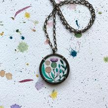 Load image into Gallery viewer, Thistle Pendant -  Vintage Florals,  Hand Painted Necklace, Wildflower Garden, Original Watercolor Painting