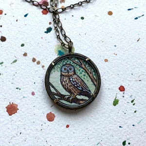 Owl Art Pendant, Hand Painted Necklace, Brown Owl, Original Watercolor Painting, Owl Art for Her