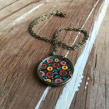 "Load image into Gallery viewer, Hand Painted Necklace, Dark Florals, ""Rosie"" - Inspired by Vintage Fabric"
