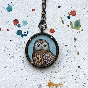 Owl Necklace, Hand Painted Pendant Art, Brown Owl, Original Watercolor Painting, Owl Art for Her