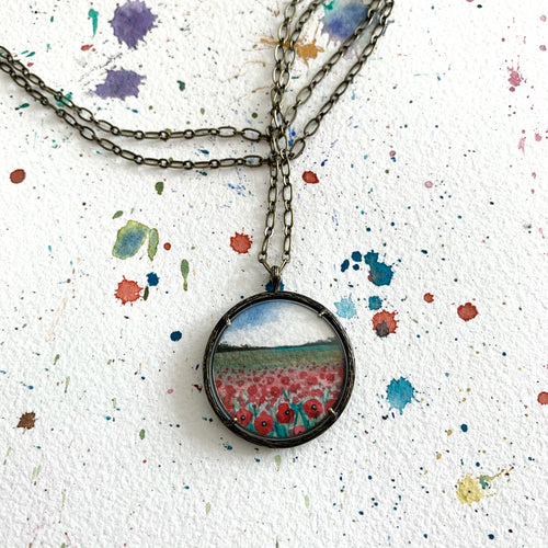 Field of Poppies - Hand Painted Necklace, Original Watercolor Painting, Red Poppy Field, Landscape Art