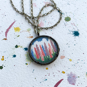 Lupines Hand Painted Necklace, Original Watercolor Painting