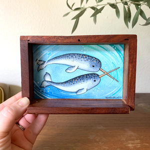 "Narwhal Love -  Box Painting, Original Watercolor Painting, ""Animals Doing Things"""
