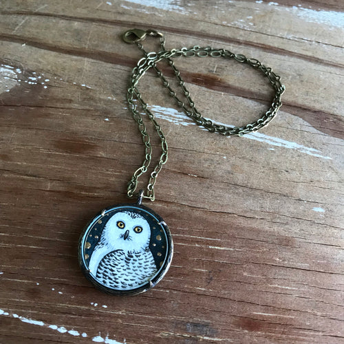 Snowy Owl Necklace, Watercolor Hand Painted Necklace, Original Art Pendant