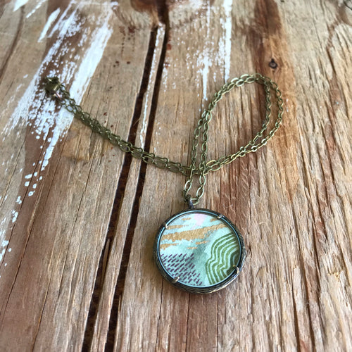 5. Abstract Painting, Watercolor Hand Painted Necklace, Original Abstract Art Pendant, One of a Kind, Green Gray Gold