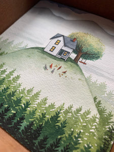 The House on a Hill, Original Watercolor Painting, Signature Box Painting - Cozy Houses