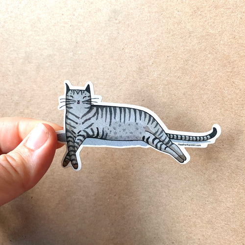 Gray Tabby Cat Sleeping -  Vinyl Decal Sticker, 3 inch, FREE SHIPPING