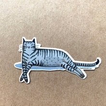 Load image into Gallery viewer, Gray Tabby Cat Sleeping -  Vinyl Decal Sticker, 3 inch, FREE SHIPPING