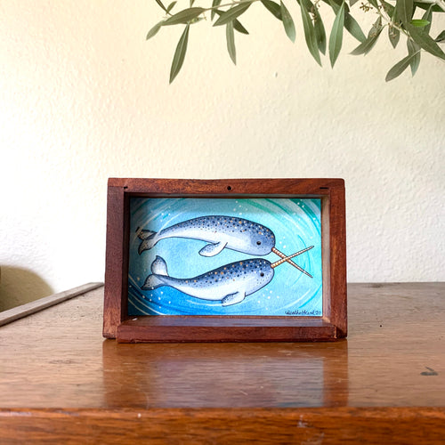 Narwhal Love -  Box Painting, Original Watercolor Painting,