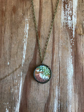 Load image into Gallery viewer, 11. Abstract Painting, Watercolor Hand Painted Necklace, Original Abstract Art Pendant, One of a Kind, Green White Pink Gold