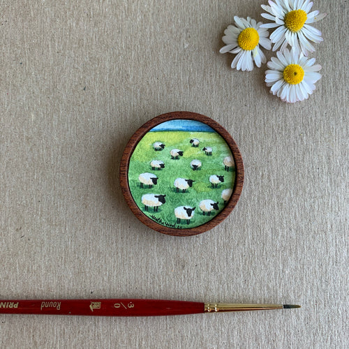 Sheep on a Hill, Miniature Painting - Small Original Watercolor Art