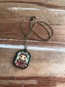 Sherlock Fox Hand Painted Necklace, Mr Fox Illustration