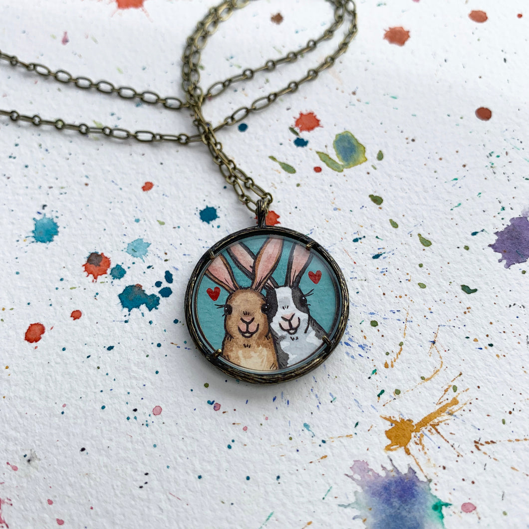 Bunny Love - Original Hand Painted Necklace