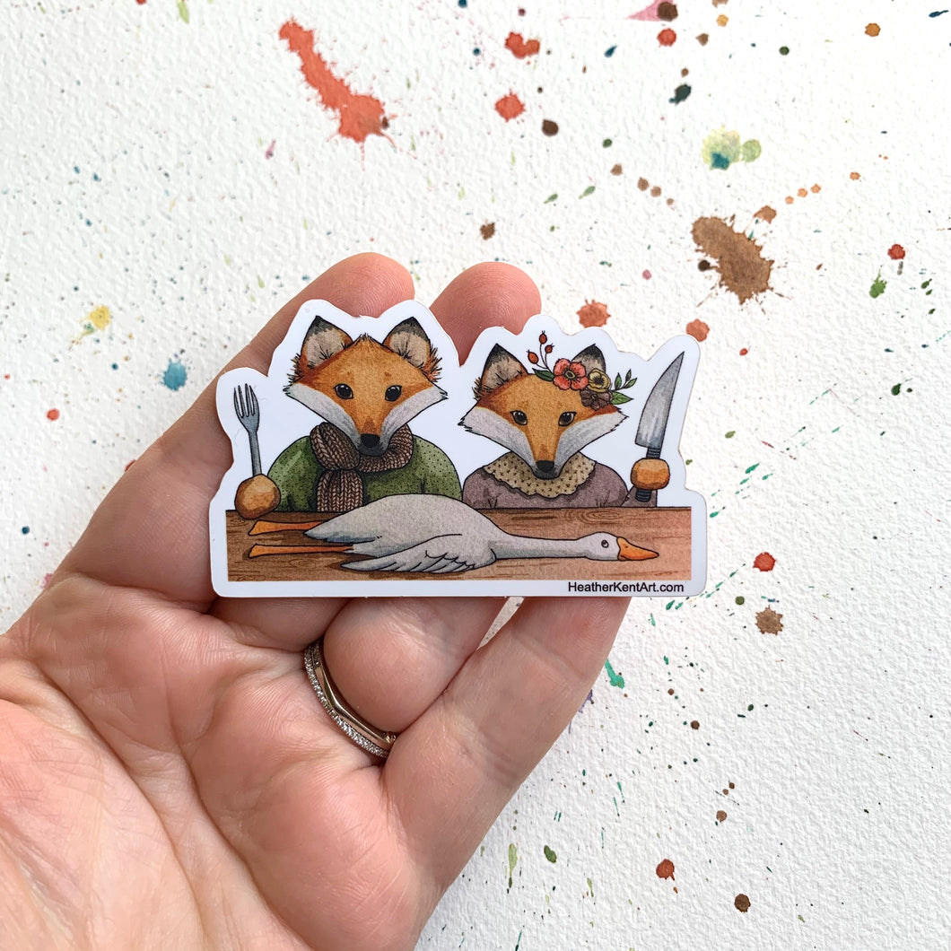The Fox and His Wife Vinyl Sticker, 3 inch, FREE SHIPPING