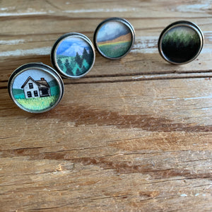 Set of 4 Original Hand Painted Drawer Pulls / Cabinet Knobs, Watercolor Landscape Paintings
