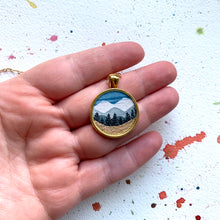 Load image into Gallery viewer, Golden Mountain Landscape, Watercolor Landscape Hand Painted Necklace, Original Art Pendant with Gold Foil