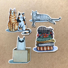 Load image into Gallery viewer, Cats Love Boxes Vinyl Decal Sticker, 3 inch, FREE SHIPPING