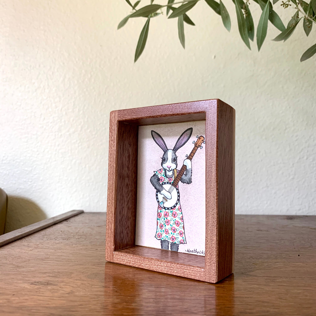 Bunny Playing Banjo -  Box Painting, Original Watercolor Painting,