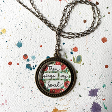 Load image into Gallery viewer, Then Sings My Soul, Poppy Flower Garden Hand Painted Necklace, How Great Thou Art Hymn Print Art Pendant