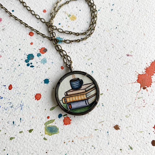 Coffee Mug and Old Books, Watercolor Hand Painted Necklace, Original Art Pendant, Gifts for Teachers or Students or Book Lovers