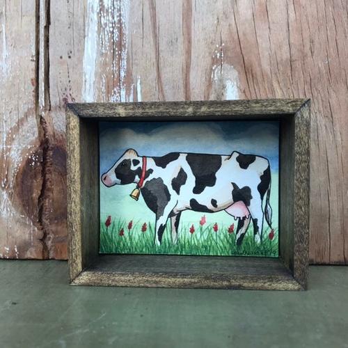 Grassfed Cow, Box Painting - Original Watercolor Painting in a Box, Shadowbox