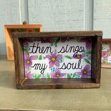 Load image into Gallery viewer, Then Sings My Soul,  Hymn Wall Art - Purple Flowers, Original Watercolor Box Painting, Heart & Soul
