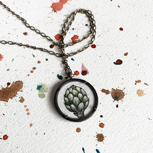 Artichoke Love, Original Watercolor Hand Painted Necklace
