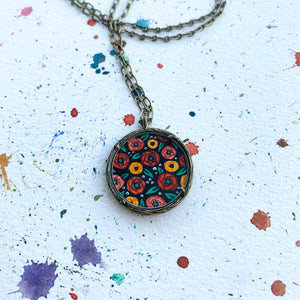 "Hand Painted Necklace, Dark Florals, ""Rosie"" - Inspired by Vintage Fabric"