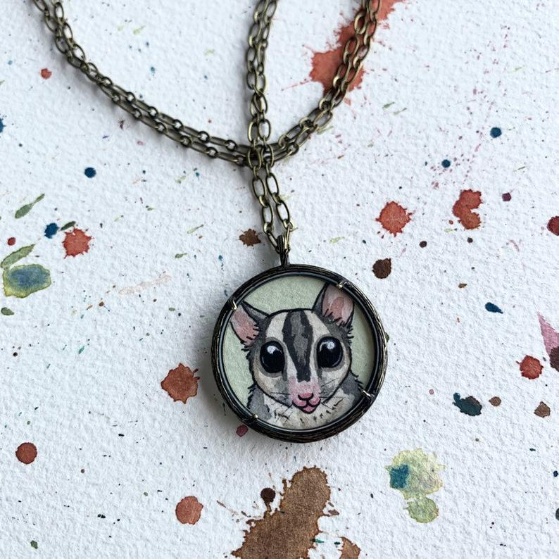 Sugar Glider Pendant Necklace, Original Hand Painted Necklace, Sugar Glider Illustration