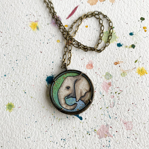 Elephant, Watercolor Hand Painted Necklace, Original Art Pendant