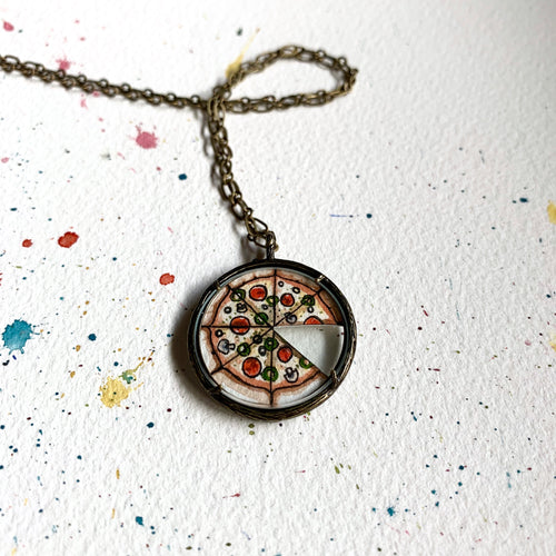 Pizza Love Pendant Necklace, Original Watercolor Hand Painted Necklace, I love you more than you love pizza