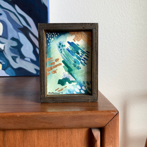 Flow - Teal Abstract Original Watercolor Box Painting, Gold Details