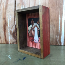 Load image into Gallery viewer, SALE Horse in Stable, Box Painting - Original Watercolor Painting in a Box, Shadowbox