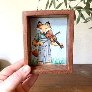 "Fox Playing Fiddle / Violin -  Box Painting, Original Watercolor Painting, ""Animals Doing Things"""