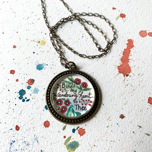 Bind My Wandering Heart To Thee - Poppy Flower Hand Painted Necklace, Come Thou Fount Hymn Print Art Pendant