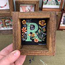 Load image into Gallery viewer, R - Floral Monogram Letter R with vintage flowers, Original Watercolor Box Painting